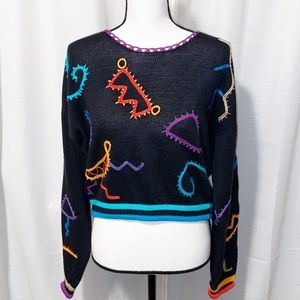 Peruvian Connection 3-D knit cotton sweater Med